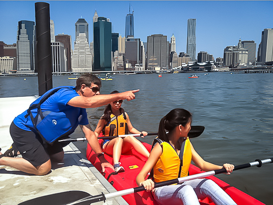 Summer, great views, and water: always a super fun combination. Photo: Etienne Frossard, Brooklyn Bridge Park Boathouse Pier 2