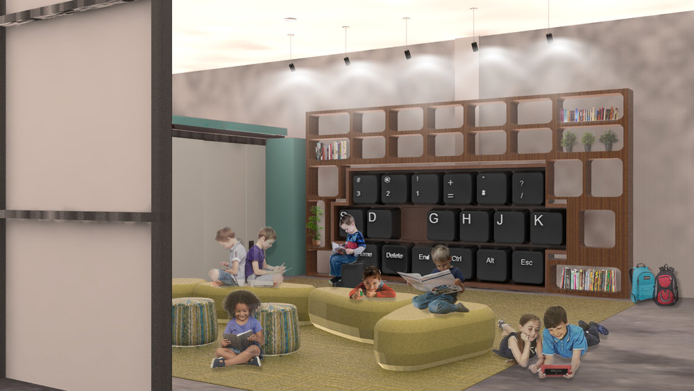 "This custom seating unit was developed for the Education Center at the ""Imagen Center"". After school programs such as  Kids for Coding  can take advantage of this modular Keyboard inspired seating unit. This concept was developed to save space and also instil a feeling of wonder for the children who utilize this library space."