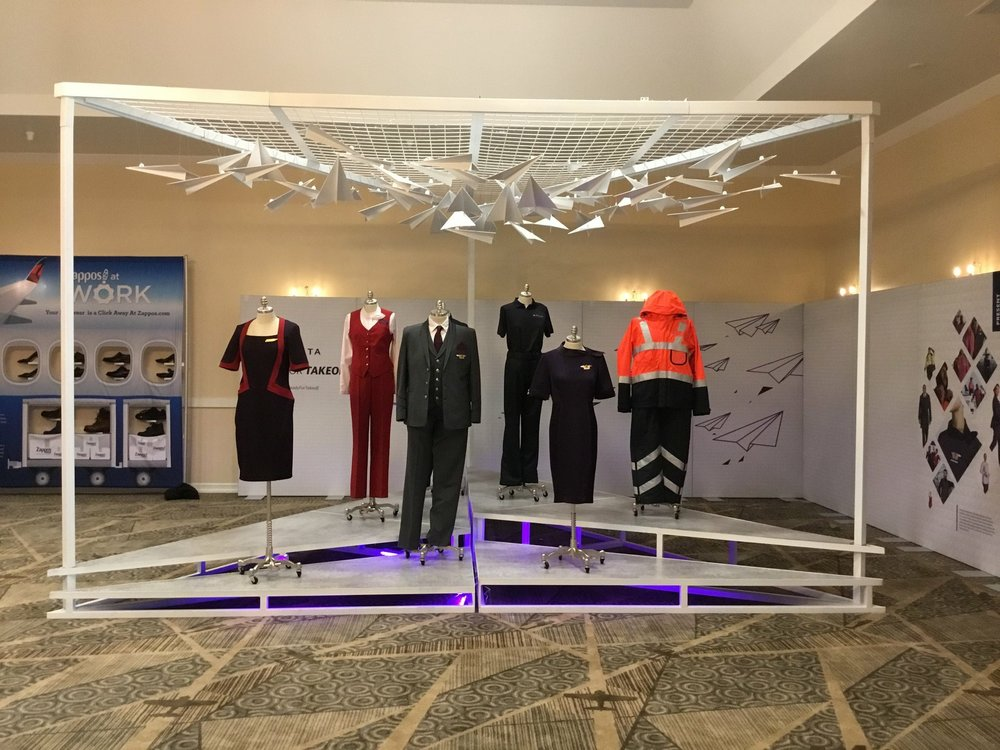 Delta fitting event in Los Angeles, California. The final uniform showcase design and the paper airplane installation were fabricated and show the diversity of the new Delta uniforms.