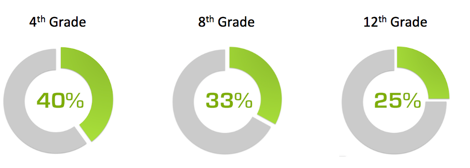 In the US, just 40% of 4th graders, 33% of 8th graders, and 25% of 12th graders perform at grade level in mathematics.