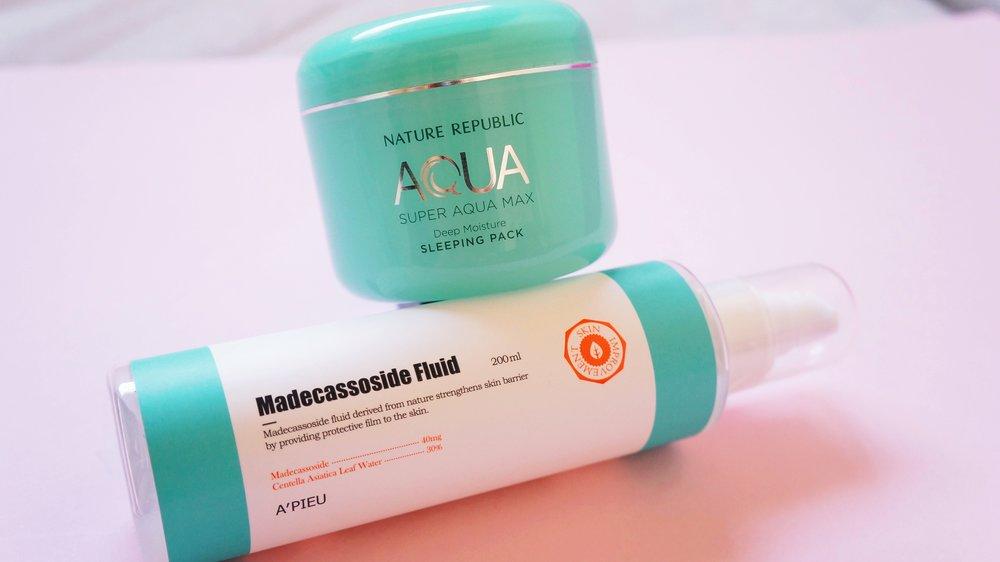 A´pieu: Madecassoside Fluid    ;    Nature Republic: Super Aqua Max Sleeping Pack