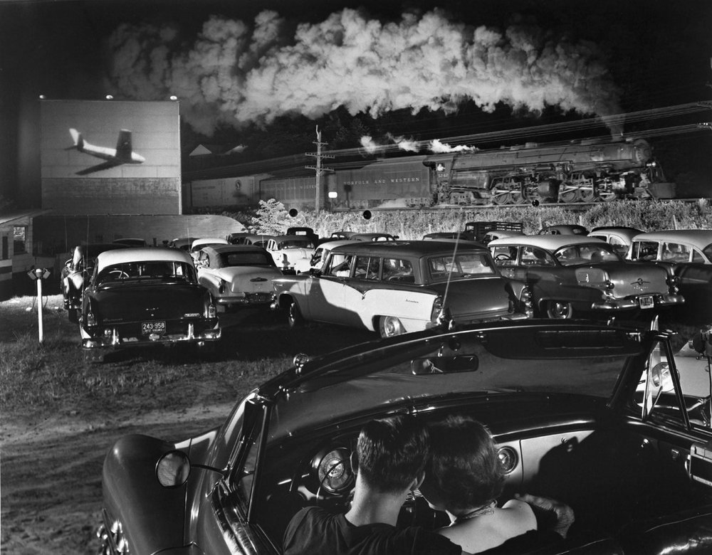 Hot Shot Eastbound at the laeger Drive-In, West Virginia (1956) | O. Winston Link | Courtesy Akron Art Museum