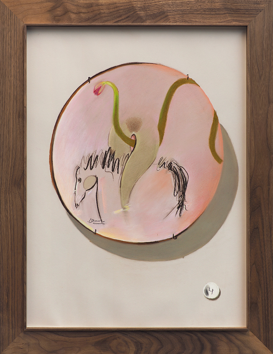 Tulip Erotica with Plate , 2017, soft pastel on paper with frame, 33 x 25 in/83.82 x 63.5 cm