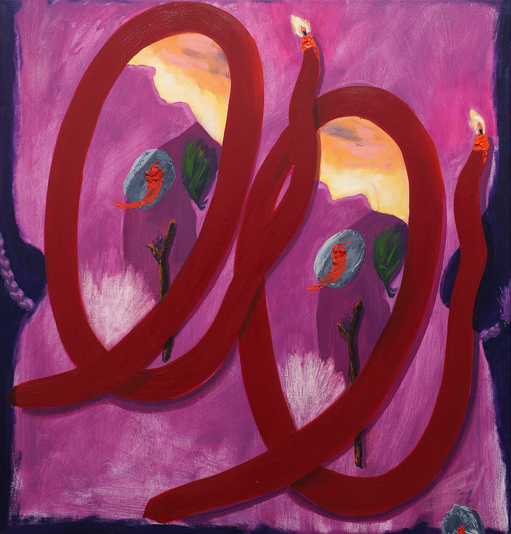 Rock, Tit, Lipstick , 2016, oil on canvas, 34 x 36 in/86.36 x 91.44 cm