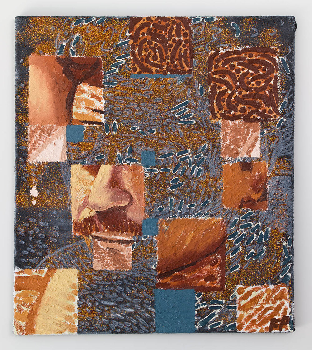 Man Searching 1 , 2018, oil, acrylic, sand, and glitter on towel, 34 × 30 in/86.36 × 76.2 cm