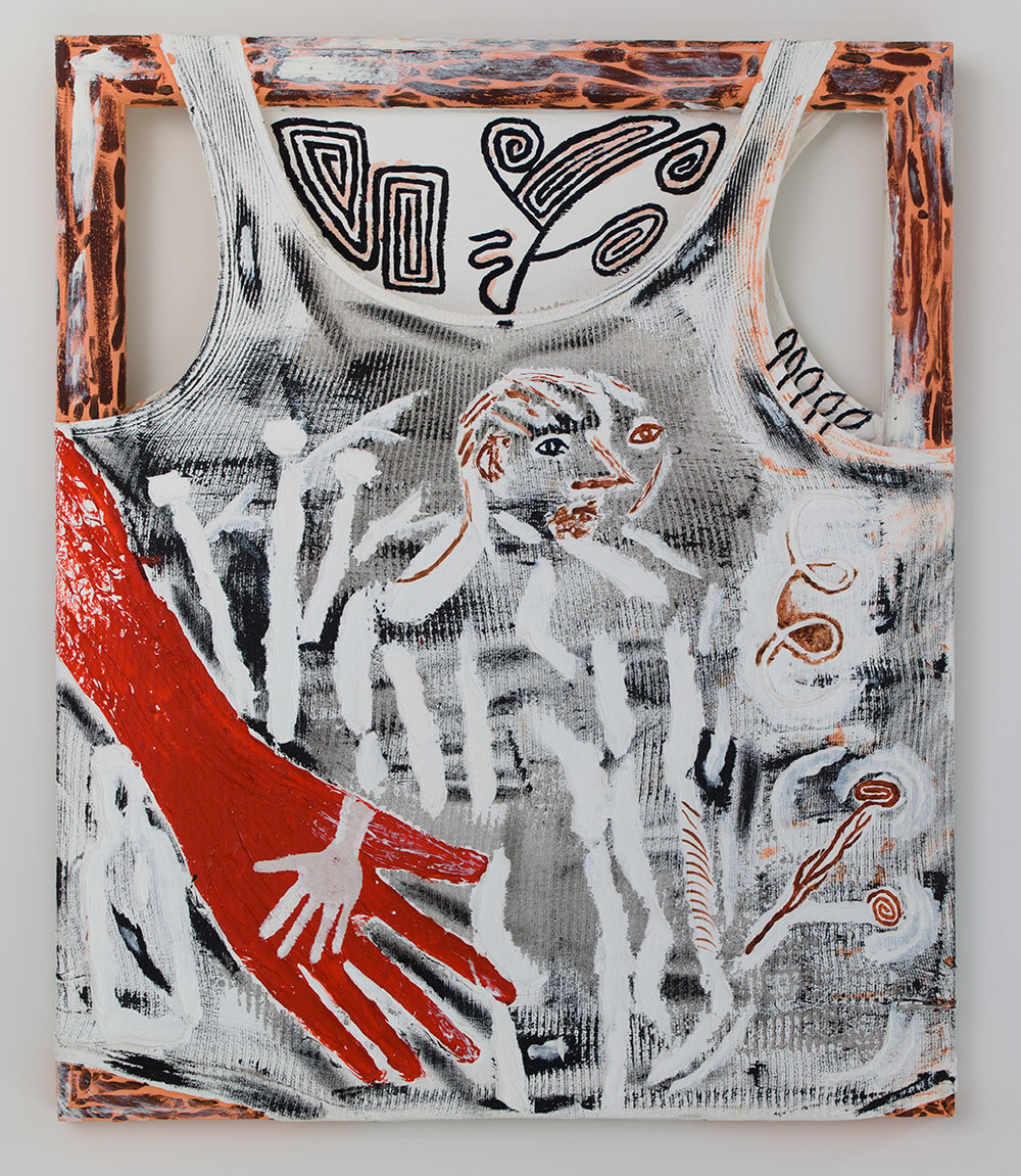 Dirt Life , 2015, oil and acrylic on stretched men's undergarment, 24 x 20 in/60.96 x 50.8 cm