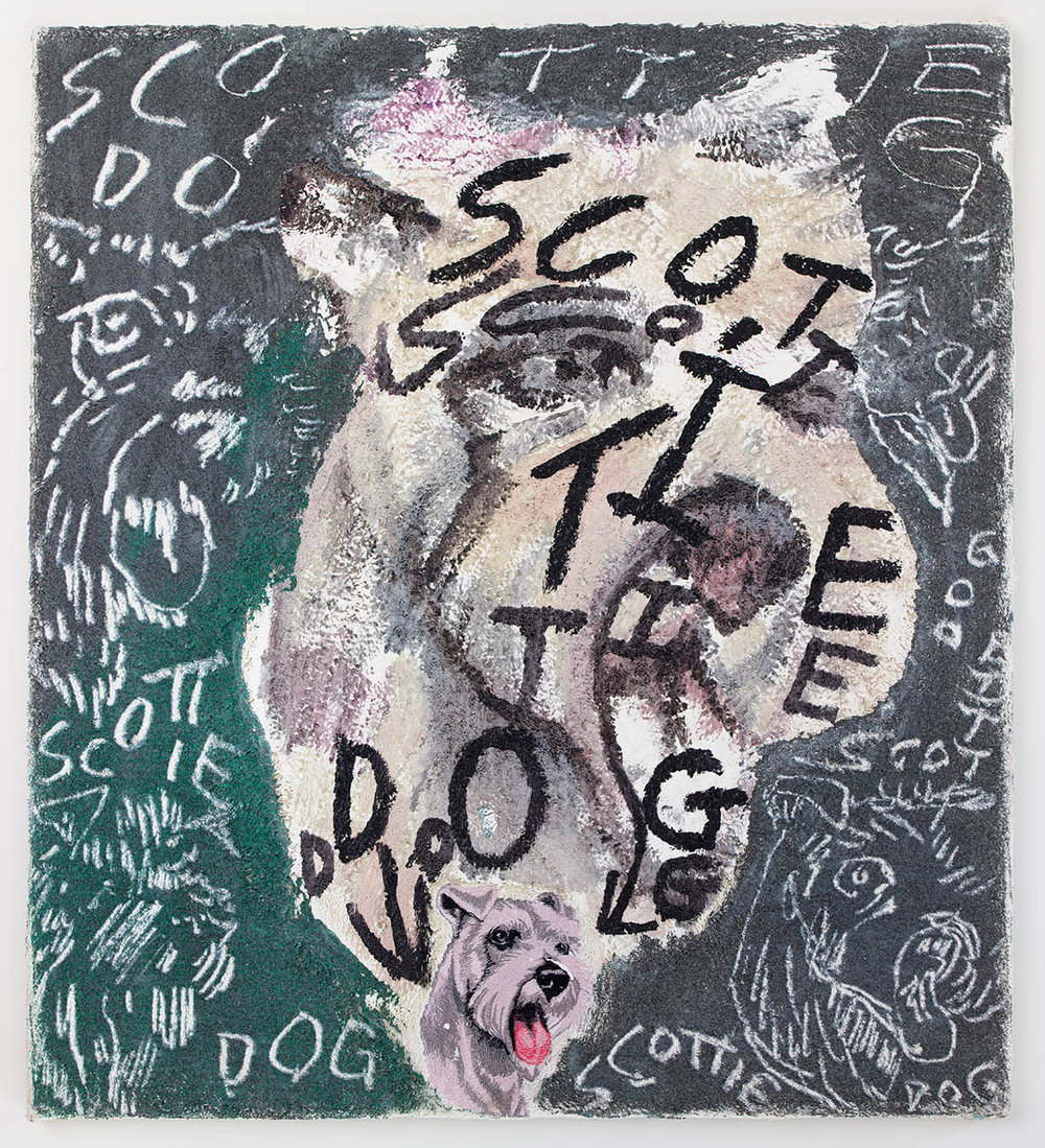 Scottie Dog , 2016, oil, acrylic and sand on found towel, 30 x 24 in/76.2 x 60.96 cm