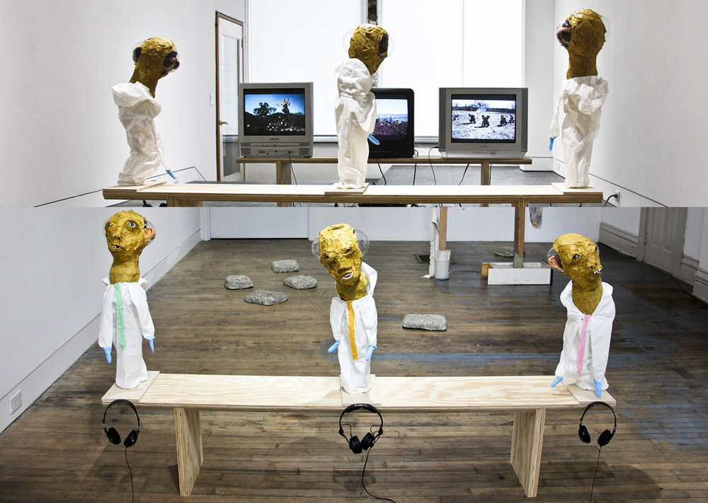 Panotti: The Mirror Stage: The Imaginary , three-channel video (color, sound) 4:15, sculpture installation, papier-mâché, tyvex, fake teeth, fake eyelashes, sculpey, plastic, wire, wood, three TV monitors, headphones, two wooden benches, dimensions variable