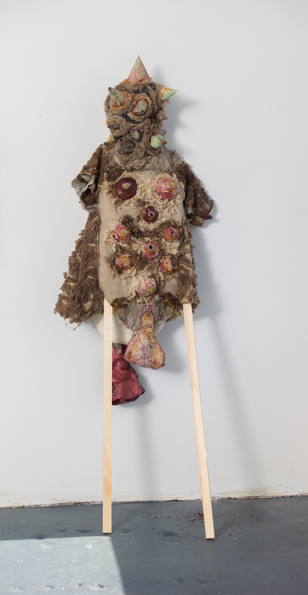 SN Taxidermy I , 2016–2017, papier-mâché, latex, raw wool, felt, burlap, batting, wax, wooden legs, overall: 84 x 28 x 7 in/213.36 x 71.12 x 17.78 cm