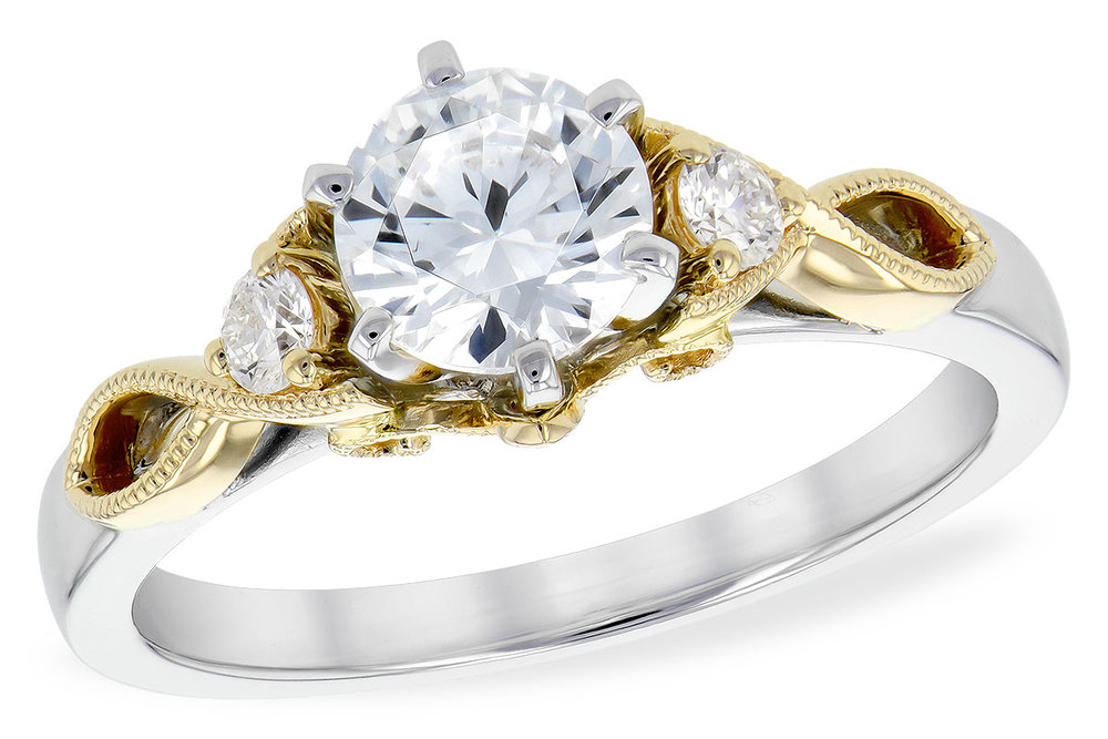 engagement white and yellow gold with diamonds