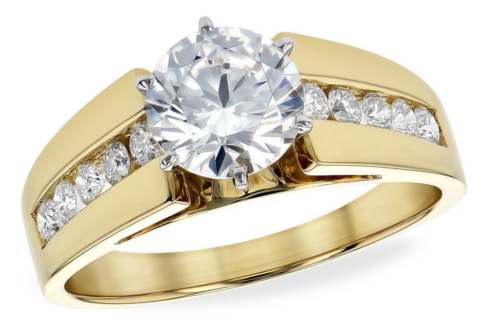 engagement ring with yellow gold and diamonds
