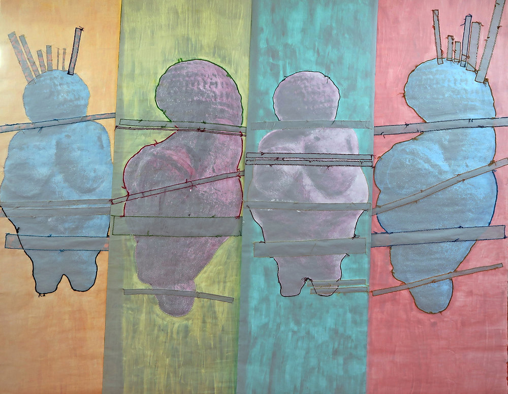 Divine Venus The Rt Hon. Ayaan Hirsi Ali Esenam Nyador (Miss Taxi Ghana) Sister Loretta Butler-Turner Chief Theresa Kachindamoto (4) 36''X144'' Scrolls with hand-sewn Ghanaian Hitarget Chinese fabric on laser prints with acrylic paint 144''X144'' (12'X12') 2016