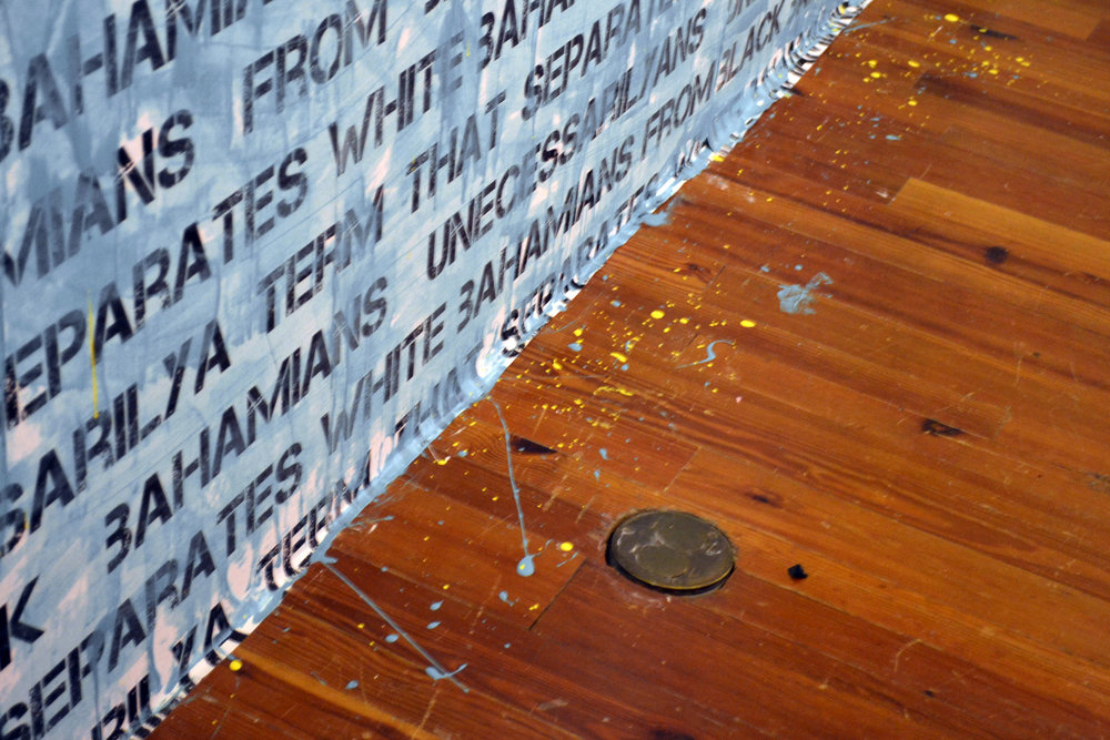 Conchy Joe | Installation: oil on epoxy resin and decoupaged wall text | Nassau, Bahamas | 2014/15