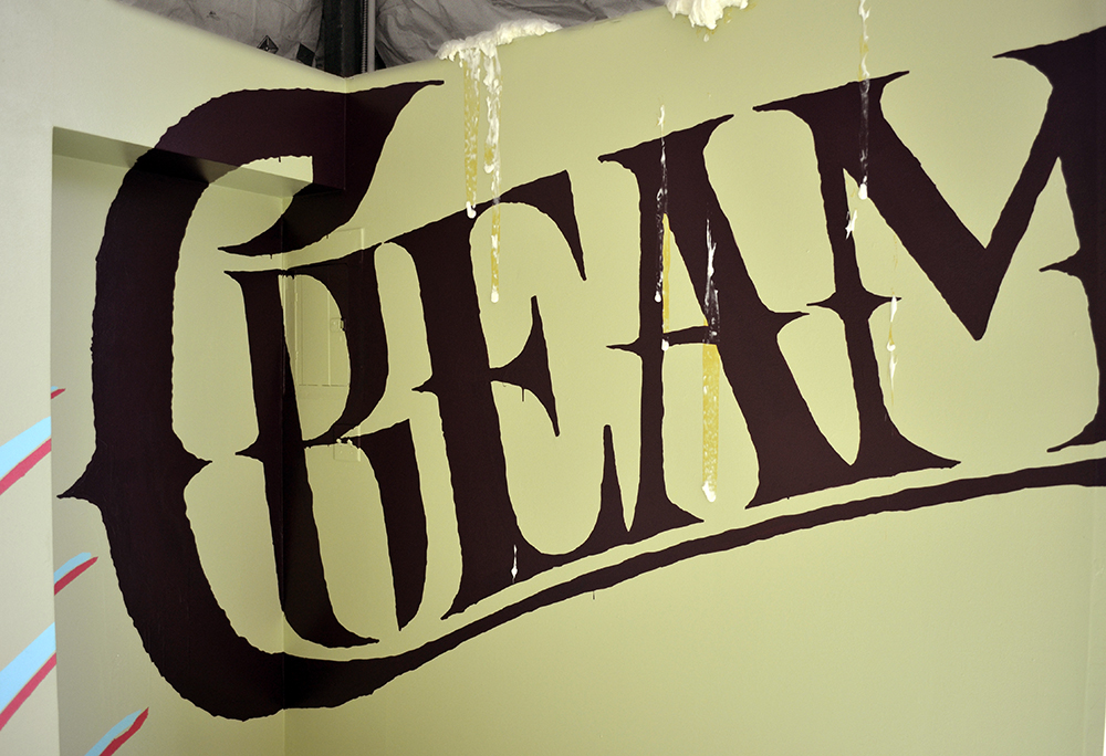 Creamy Crack | Installation collaboration with artist Logan Bell | Hair relaxer, wall paint | 2013