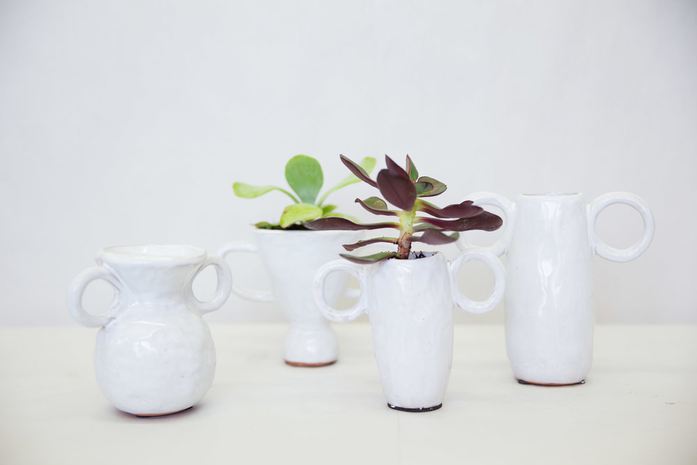 Ceramic Vases w.Handles $8-15  Succulent Included- $22