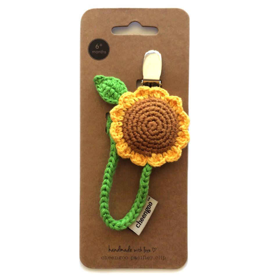 Sunflower pacifier clip $10