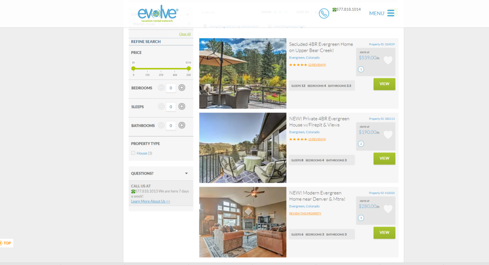 Our home is now listed full-time with Evolve Vacation Rentals in Evergreen, Colorado