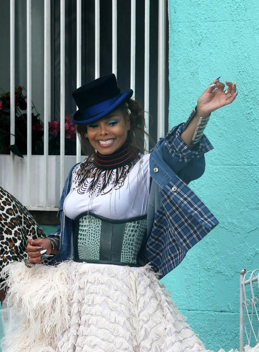 Janet Jackson wearing Emerald Croc-Embossed Leather Waist Cincher by Candice Cuoco