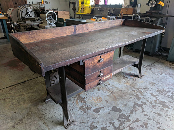 Antique Factory Workbench Brooksvale Artisans