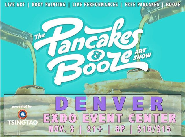 I'm excited to be apart of the @pancakesandbooze show in Denver November 3rd!! Come check it out 😍 experience some fantastic art, body painting music and PANCAKES 🥞
