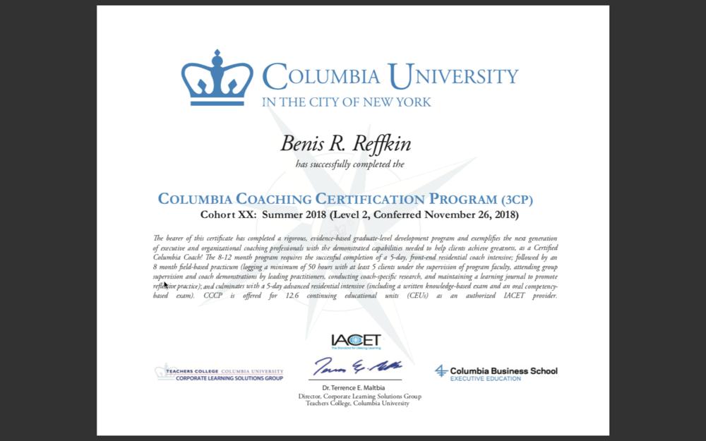 Credentials Benis Reffkin Coaching