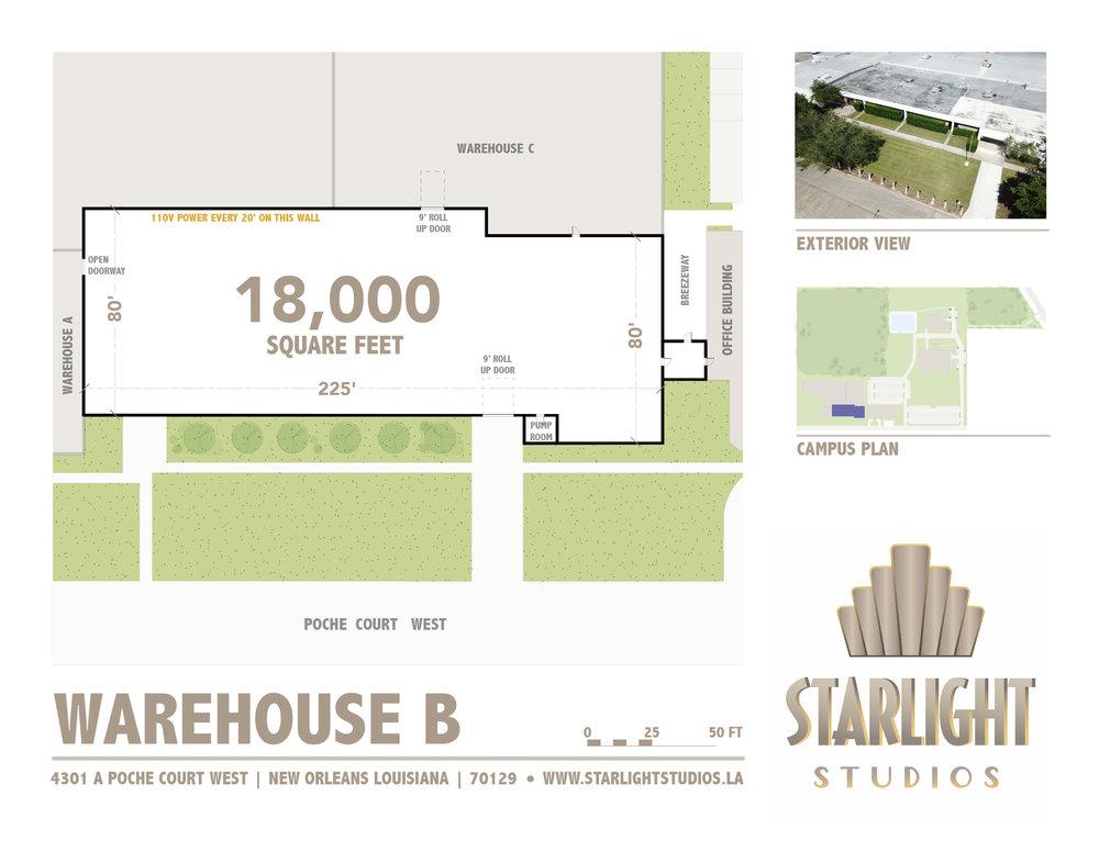 Warehouse b - 18,000 square ft110 volt outletsStreet Access9 ft roll up overhead door