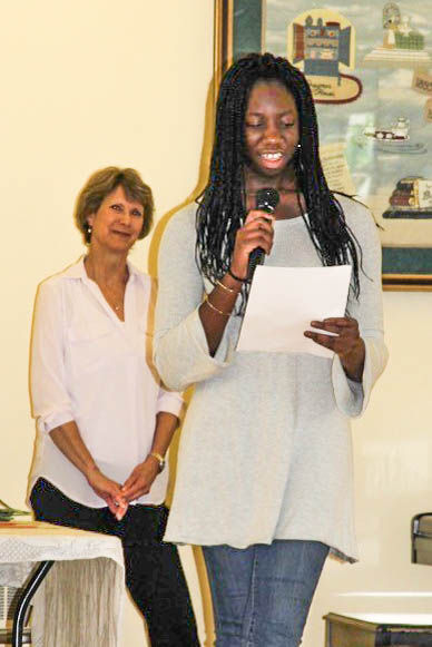 5/19: Amara Chimeze, high school winner, at the Main Street Voices Poetry Contest with Glenda Childs of Doylestown Bookshop