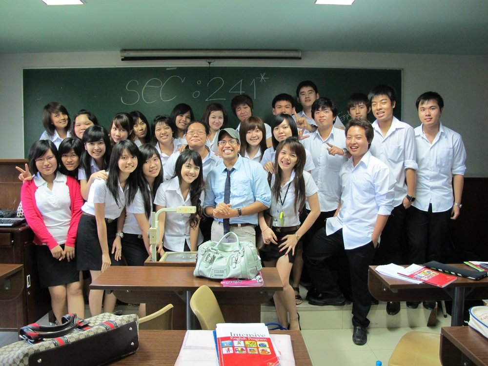 Jeffrey along with students of his English class at Assumption University of Thailand