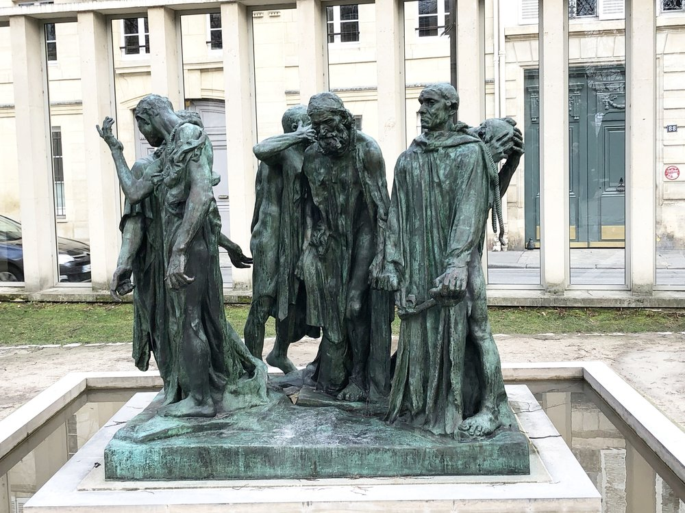 The Burghers of Calais statue in garden of Rodin Museum