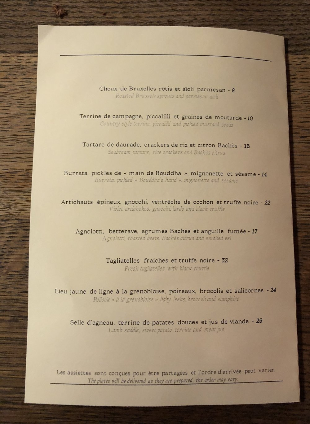 Frenchie Wine Bar Menu