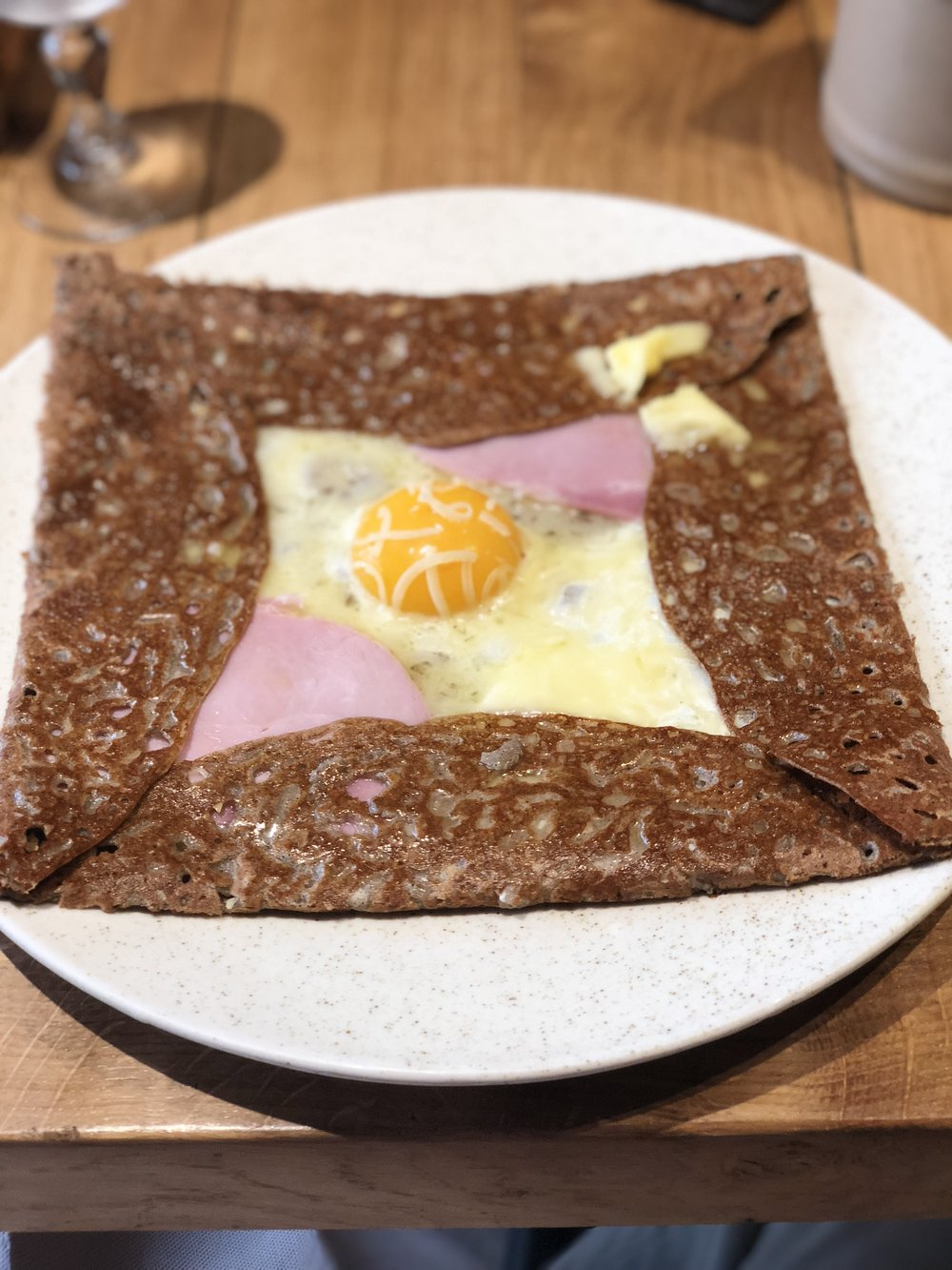 Buckwheat Crepé with ham, cheese, and egg.