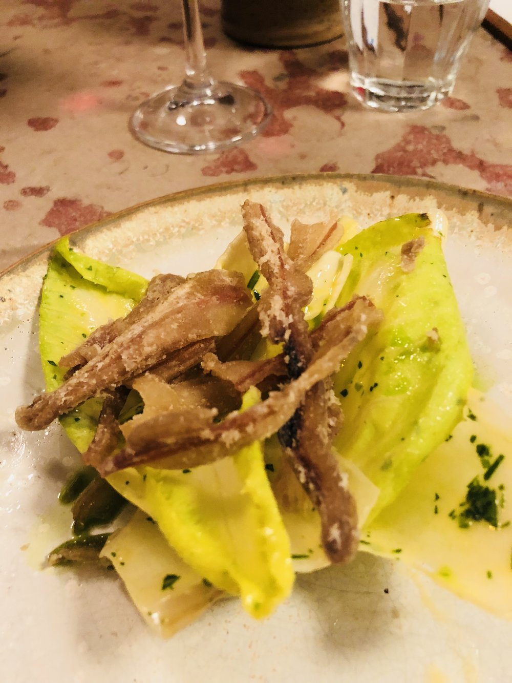 Crispy Pig Ear Salad with Lettuce and Mustard