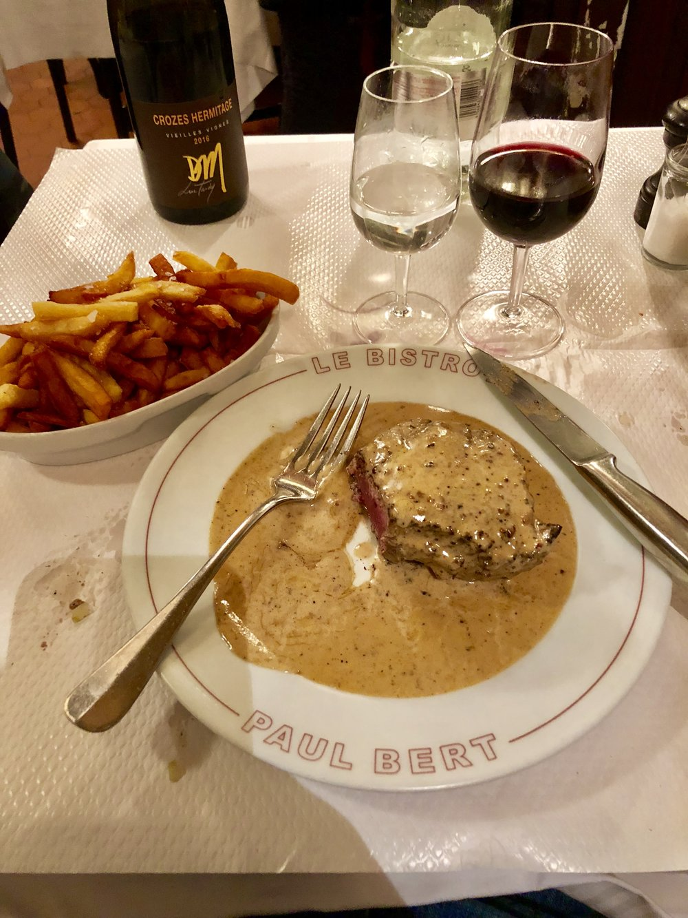 Peppercorn Filet with Cognac Cream Sauce and Frites