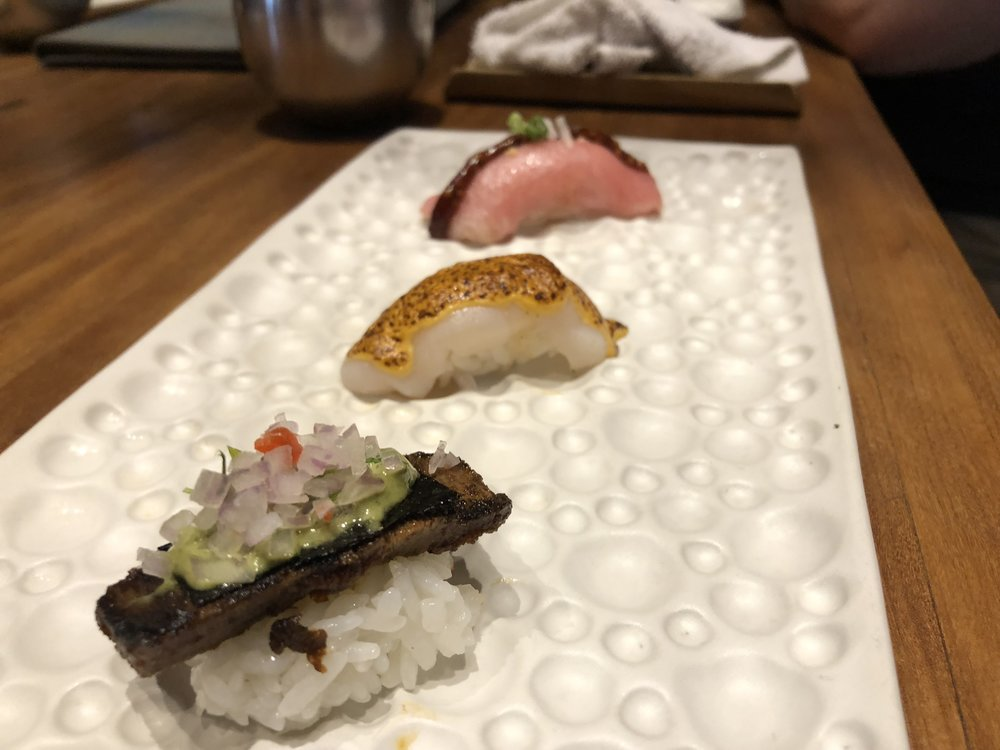 Toro, White Tuna with Uni, Beef Tongue