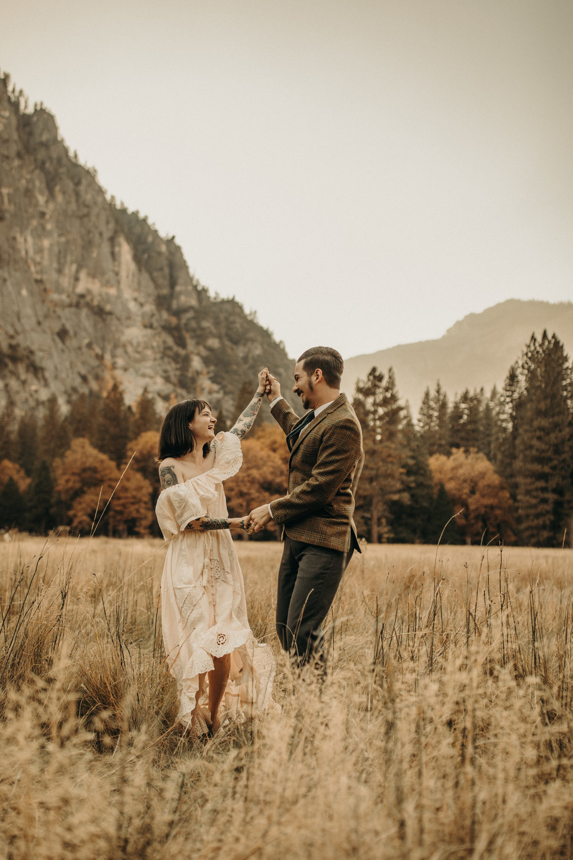 yosemite valley boho elopement fall free people dress