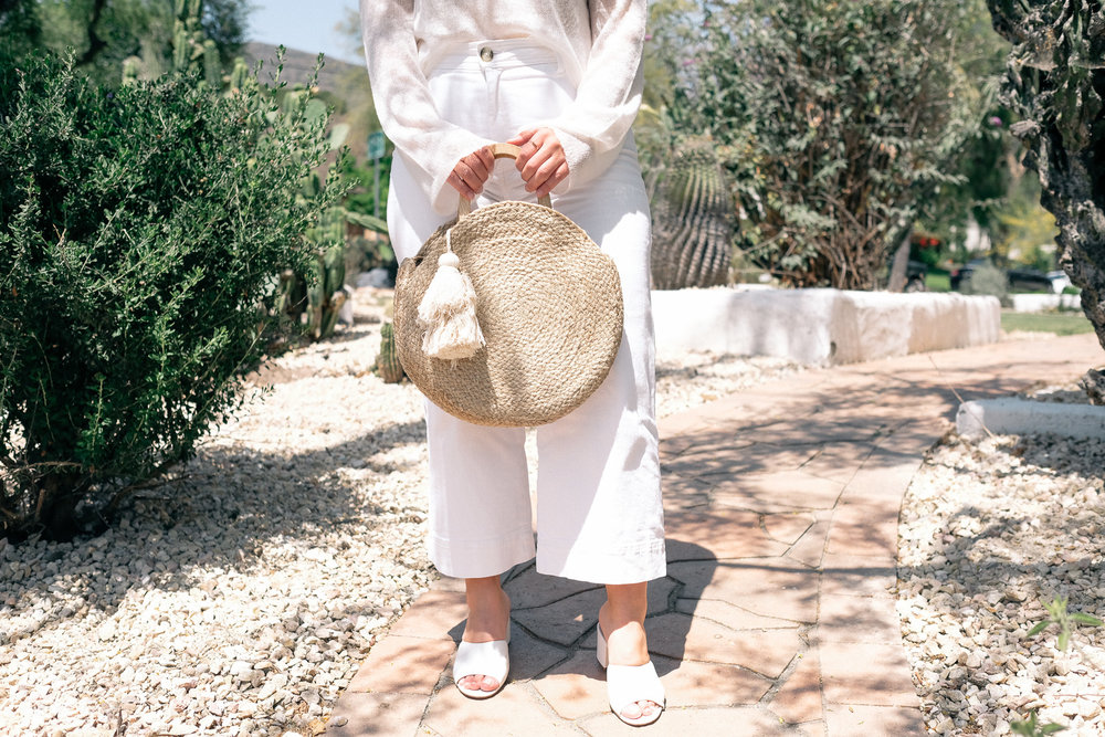 White Denim Culotte and white Jcrew mules -11.jpg