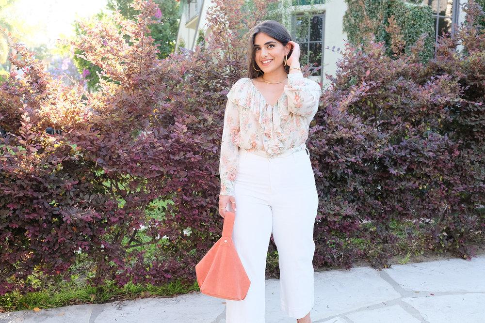White Wide leg denim & Floral chiffon blouse