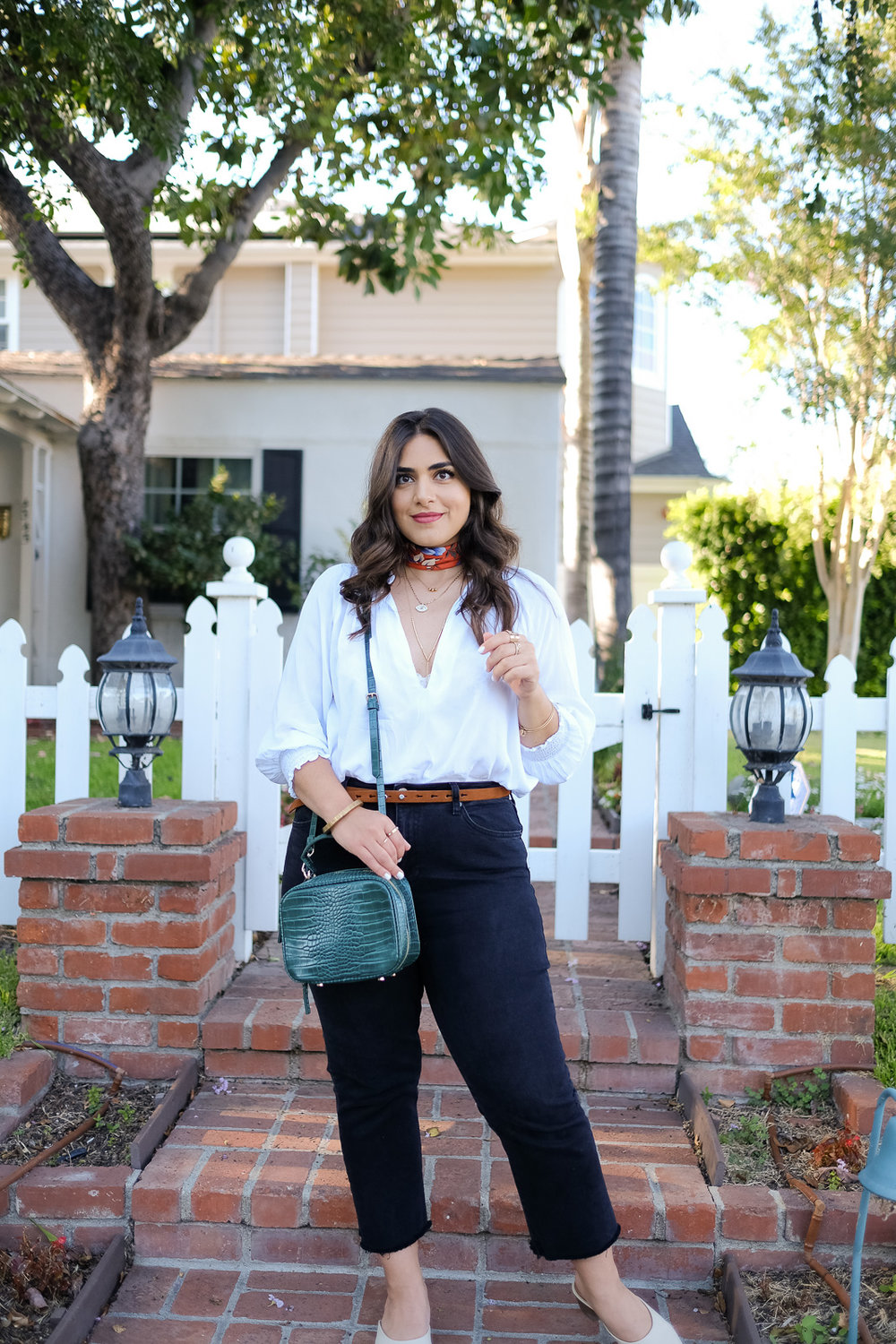 White peasant blouse Summer night time look