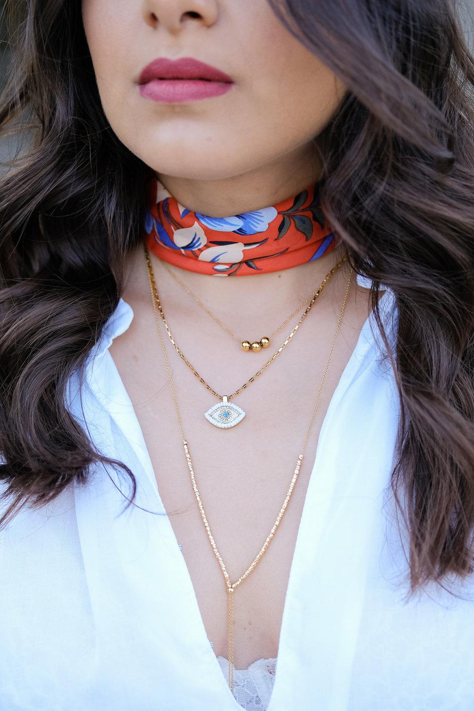 Gorjana necklace, rebecca Minkoff necklace