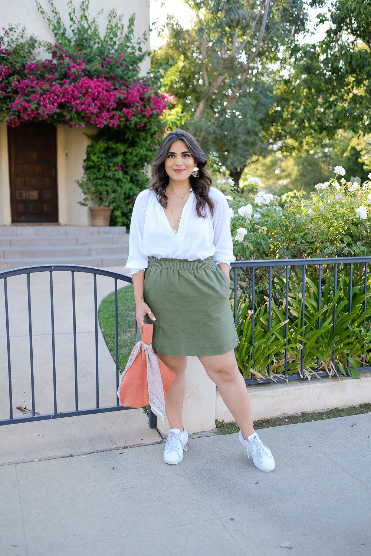 White blouse worn two ways