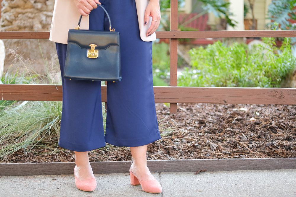 navy classic bag with pink gap mules