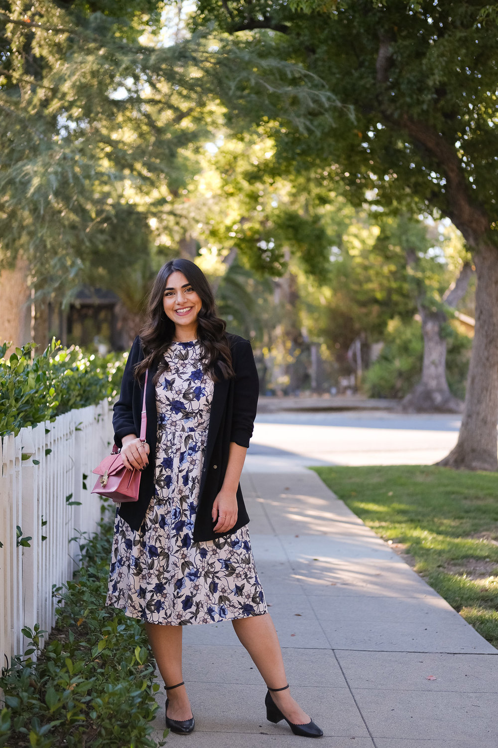 Pink floral dress interview look