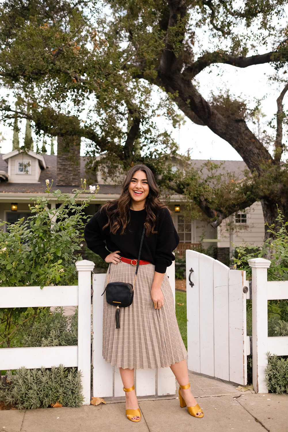 Thanksgiving outfit midi skirt chunky knit sweater