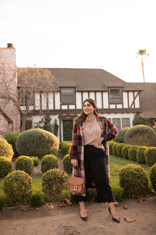 Plaid Coat madewell sweater ann taylor black pumps winter fashion