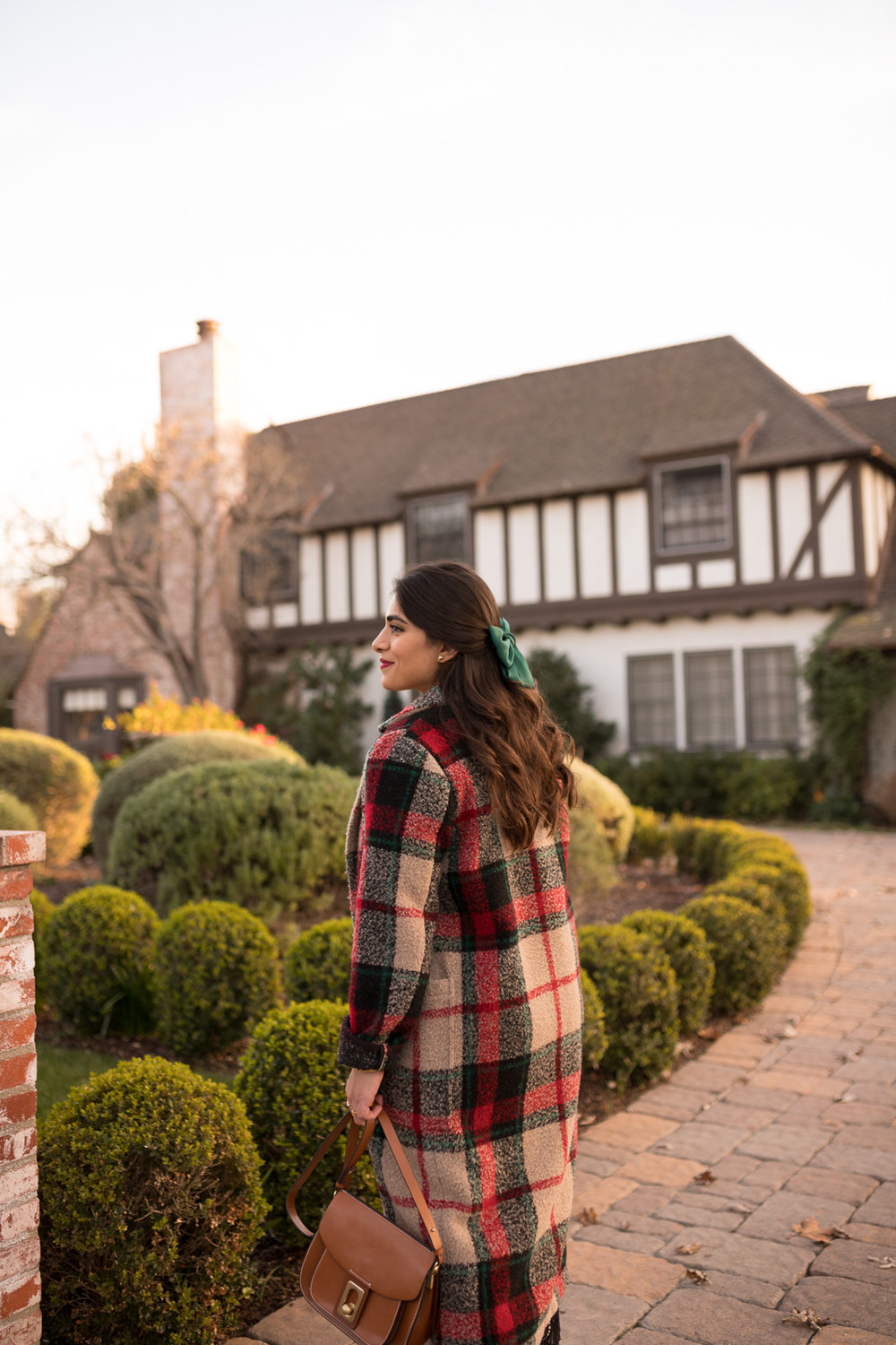 Plaid Coat & Green Bow for Fall or winter
