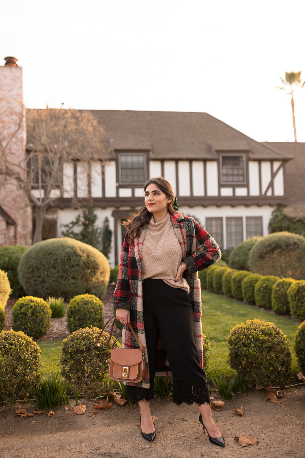 Plaid Coat lace bottom pants and madewell sweater for winter in los angeles