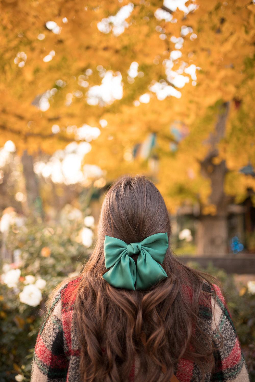 Fall Foliage and green satin hair bow