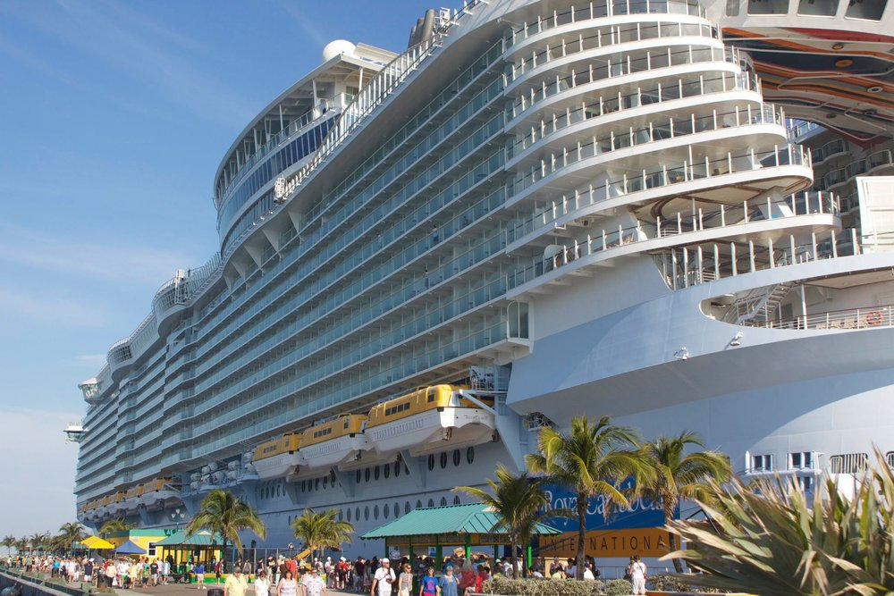 2012,   The amazing Allure of the Seas, part of the Royal Caribbean Oasis-Class, docked in Nassau, Bahamas