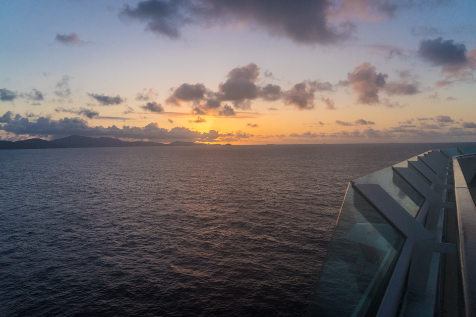 2017,   Royal Carribean's Jewel of the Seas sunrise arrival in the US Virgin Islands