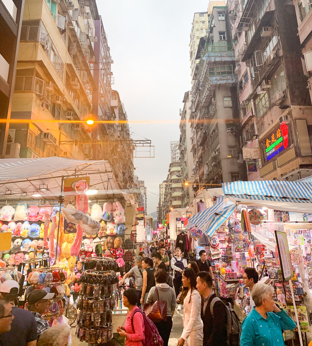 The bustling Ladies Market in Hong Kong; pick up a beer at a local convenience store and have a stroll through for an entertaining evening